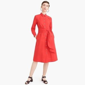 J. Crew Tie-Waist Shirtdress in Cotton Poplin